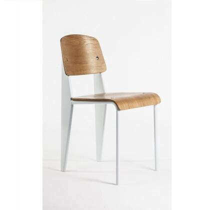 Standard DC595WHITE Chair with Plywood Seat and Back  Waterfall Edge Seat and Powder Coated Steel in White and