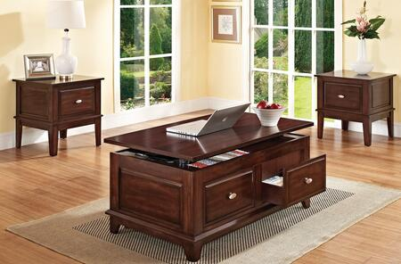 80267CET Mahir 2 Piece Table Set with Coffee Table and 2 End Tables with Tapered Legs and Metal Hardware in Walnut