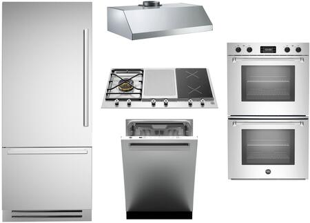 5-Piece Stainless Steel Kitchen Package with REF36PIXL 36 inch  Bottom Mount Refrigerator  PM361IGX 36 inch  Gas Cooktop  MASFD30XT 30 inch  Electric Double Wall Oven
