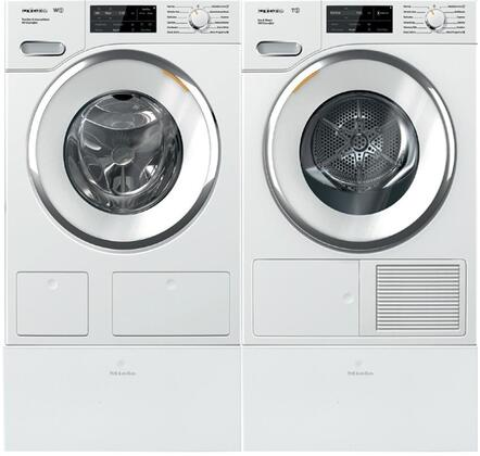 White Front Load Laundry Pair with WWH860WCS 24 inch  Front Load Washer  TWI180WP 24 inch  Electric Dryer
