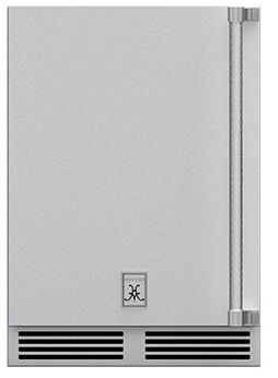 "GRWSL24 24"" Outdoor Dual Zone Refrigerator with Two Full-Extension Wine Storage Shelves and Locking Left Hinge Solid Door in Stainless"
