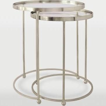 TA039B Prague Nested Tables Iron/Glass Accent Table in Antique