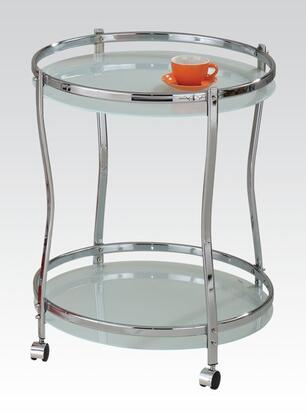 Corey Collection 98100 24 inch  Round Serving Cart with Chrome Metal Frame  Mobility Casters and Tempered Glass in White Frosted