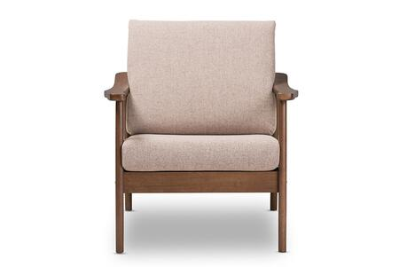 VENZA-BROWN/WALNUT BROWN-CC Baxton Studio Venza Mid-Century Modern Walnut Wood Light Brown Fabric Upholstered Lounge