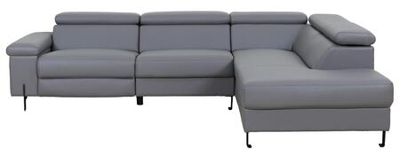 Ln-303-dg 113 2-piece Sectional Sofa With Electrical Recliner And High Quality Eco-leather Seating In Dark