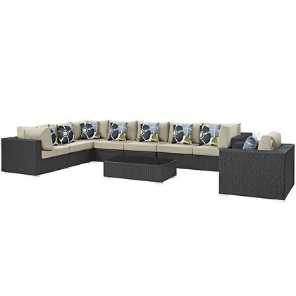 Sojourn Collection EEI-2399-CHC-BEI-SET 7-Piece Outdoor Patio Sunbrella Sectional Set with Armchair  Coffee Table  Corner Section  Left Arm Loveseat  Right Arm