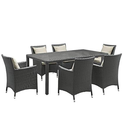 Sojourn Collection EEI-2271-CHC-BEI-SET 7-Piece Outdoor Patio Sunbrella Dining Set with 6 Armchairs and Dining Table in Antique Canvas