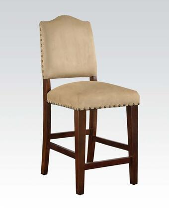 Bandele Collection 70388 Set of 2 Counter Height Chairs with Beige Microfiber Upholstery  Nail Head Accents  Crossbar Supports  Tapered Legs and Wood Frame in
