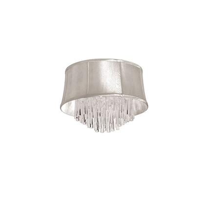 JUL184FH-PC-117 4 Light Crystal Flush Mount Fixture  Polished Chrome  Oyster Organza Bell