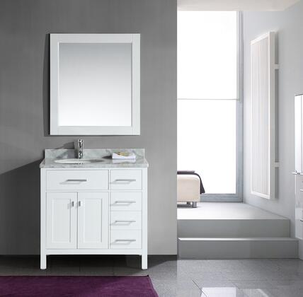 DEC076D-W = DEC076D-W-R London 36 inch  Single Sink Vanity Set in White Finish with Drawers on the