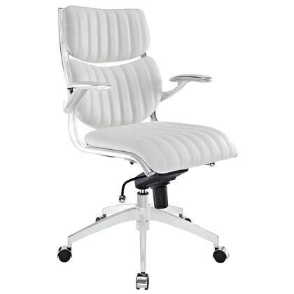 Escape Collection EEI-1028-WHI Office Chair with 360-Degree Swivel Seat  Pneumatic Height Adjustment  Five Dual-Casters  Tilt Control Tension Knob  Chrome