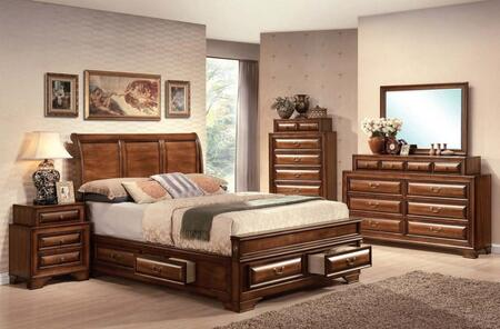 Konane Collection 20444EK6PCSET 6 PC Bedroom Set with King Size Bed  Dresser  Mirror  Chest and 2 Nightstands in Brown Cherry