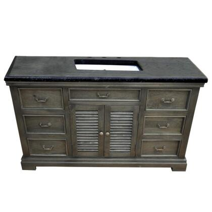 YVGD60SVGY 60 inch  Single Vanity with Black Granite Top  White Undermount Ceramic Basin  1 Cabinet and 6 Side Drawers in Gray Cabinet