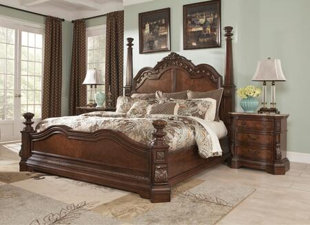 Ledelle Collection King Bedroom Set with Poster Bed and a Single Nightstand in Dark Cherry