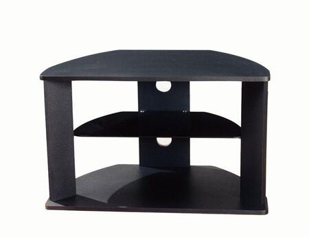 64935 30 inch  Corner TV Stand with 1 Tempered Glass Shelf  Cable Management Holes and Rounded Top and Base in