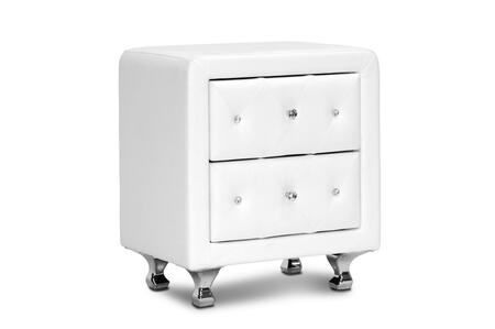 BBT3084-WHITE-NS Baxton Studio Stella Crystal Tufted Upholstered Modern Nightstand  In