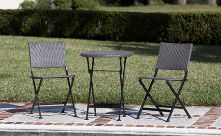 62154 Acosta Folding Wicker 3pc. Bistro Set with Steel Frames and All Weather Wicker Construction in