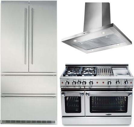 3-Piece Kitchen Package with CS2062 36 inch  French Door Refrigerator  GSCR484BGL 48 inch  Freestanding Gas Range  and BELAIS42SS600B 30 inch  Island Mount Ducted Hood in