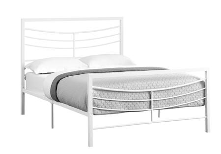 I 2640F Full Bed with Horizontal Headboard & Footboard Slats and Metal Frame in White - Frame