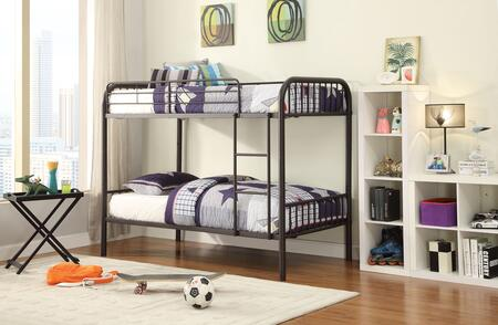 Bristol Collection 37533 Twin Over Twin Size Bunk Bed with Right Facing Front Ladder  Easy-Access Guardrail  Slat System Included and Metal Tube Frame in Dark
