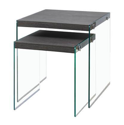 I 3221 2-Piece Nesting Table Set with Tempered Glass Legs and Wood-Look Table Tops in