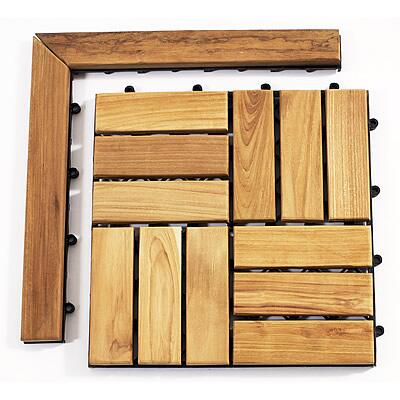 899029001477 Le click Teak Set of 2 Corner Pieces with Loop and Pin side