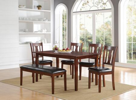 Jayden Collection 71735 6 PC Dining Room Set with PU Leather Upholstered Seats  Fiddle-Shape Chair Back  Mindy Wood Veneers and Medium-Density Fiberboard