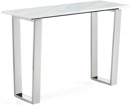 Carlton Collection 235-S 48 inch  Console Table with White Marble Top  Square Shape and Stainless Steel Legs in Chrome