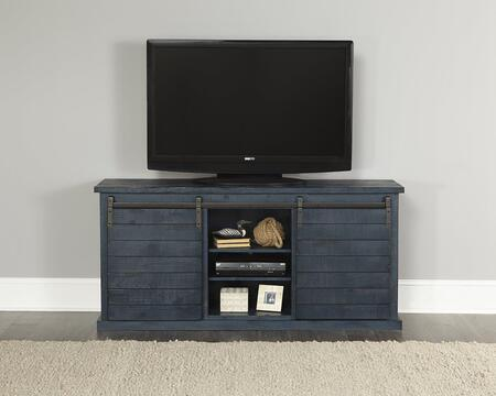 Huntington Collection E762-64N 64 Inch Console with Distressed Detailing  Sliding Door and Barn Door Hardware in Distressed Navy