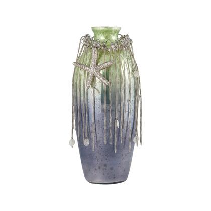 Vase Corfu Collection 8468-073 12 inch  Tall Vase with Glass Jewels  Silver Wire Roping  Starfish Amulet Stars and Glass Construction in Pampas