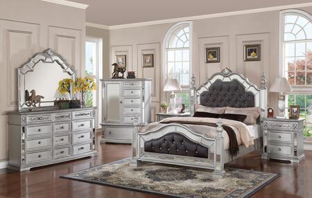 Pamela Collection PAMELA QUEEN BED SET 6-Piece Bedroom Set with Queen Size Bed  Dresser  Mirror  Chest and 2 Nightstands in