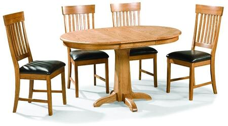 Family Dining FD-TA-L4260180-CNT-C  Extendable Dining Room Pedestal Table and 4 Chairs with  in Chestnut