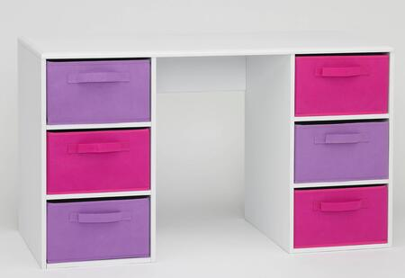 Carla Collection 12434 Girl's 48 inch  Student Desk with 6 Large Canvas Style Drawers and Shaped Top with Rounded Edges in