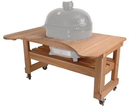 Primo 600 Cypress Wood Table for Primo Oval XL Grill, 4 Wheels