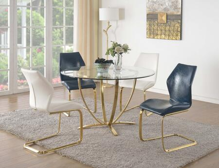 Nicole-5pc-wht Nicole Dining 5 Piece Set Clear Glass 4-star Metal Plated Base Dining Table With 4 White Ergonomic Design Cantilever Side