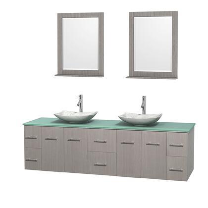 Wcvw00980dgogggs6m24 80 In. Double Bathroom Vanity In Gray Oak  Green Glass Countertop  Arista White Carrera Marble Sinks  And 24 In.