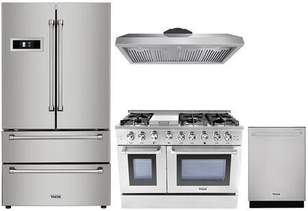 4-Piece Stainless Steel Kitchen Package with HRF3601F 36 inch  French Door Refrigerator  HRG4808U 48 inch  Freestanding Gas Range  HRH4805U 48 inch  Under Cabinet Ducted Hood