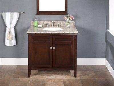WF6735-36/DC Single Sink Wood Vanity With Granite Top and