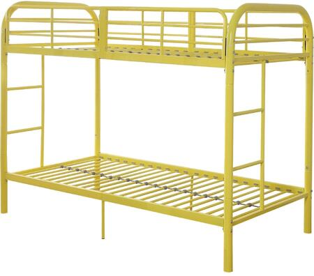 Thomas Collection 02178YL Twin Over Twin Bunk Bed with Built-in Side Ladders  Slat System Included  Full Length Guardrail and Metal Tube Frame in Yellow