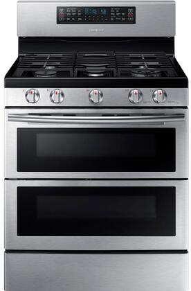 "NX58K7850SS 30"" Freestanding Gas Range with 5.8 cu. ft. Oven Capacity  Flex Duo convection fans  Soft Close Dual oven door  Self-cleaning and Wi-Fi Connection"