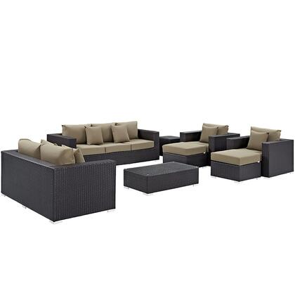 Convene Collection EEI-2161-EXP-MOC-SET 9-Piece Outdoor Patio Sofa Set with Rectangle Ottoman  Loveseat  Sofa  2 Armchairs  2 Ottomans and 2 Side Tables in