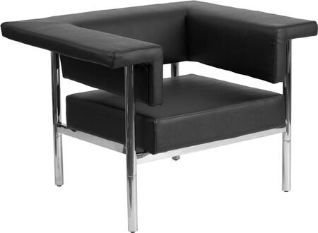 ZB-8811-1-CHAIR-BK-GG HERCULES Fusion Series Contemporary Black Leather Chair with Stainless Steel
