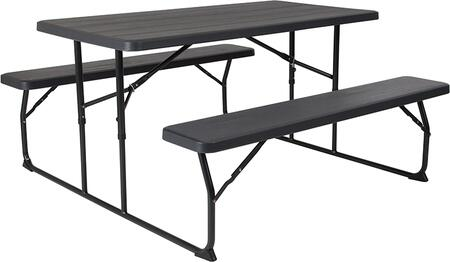 RB-EBB-1470FD-GG Insta-Fold Charcoal Wood Grain Folding Picnic Table and