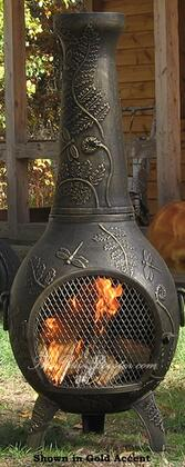 ALCH014GAGKLP Gas Powered Dragonfly Chiminea Outdoor Fireplace in Gold Accent - Liquid