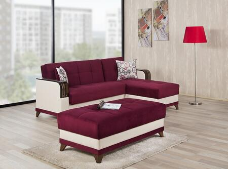 ALMSECOTTGB Almira Sectional Sleeper Sofa and Ottoman with Matching Pillows  Tufted Detailing  Tapered Legs and Upholstered in Golf