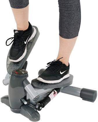 SF-S0636 Twist-In Stepper Step Machine with LCD Display Monitor  Non Slip Foot Plates and Steel Construction in Grey