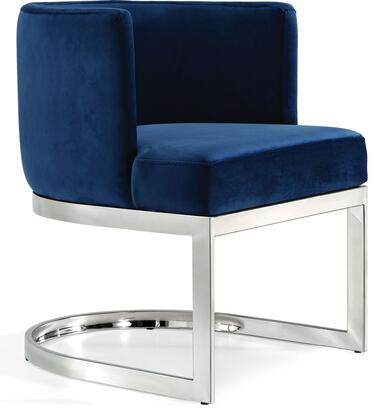 Gianna Collection 734Navy-C 19 inch  Dining Chair with Plush Velvet Upholstery  Chrome Stainless Steel Base and Barrel Back Design in