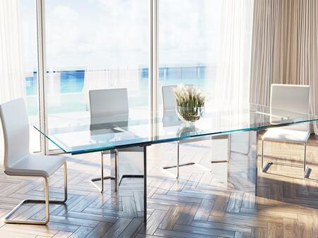 Tower Collection CB096MSET 5 PC Dining Room Set with Extendable Clear Glass Top Dining Table and 4 White Italian Eco-Leather Upholstered Dining