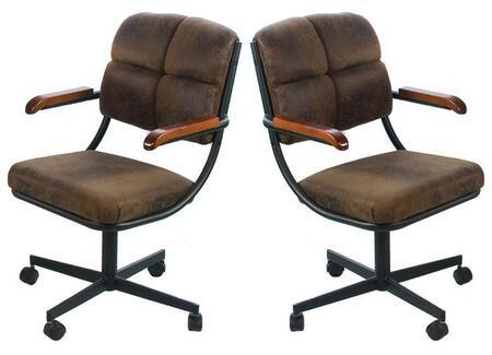 16304 Douglas Dark Brown Microfiber Upholstered Caster Chairs (Set of