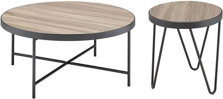 Bage Collection 2 PC Living Room Table Set with Coffee Table + End Table in Weathered Grey Oak
